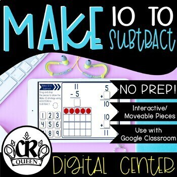 Making 10 to Subtract Activity for Google Classroom Apps