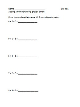 Making 10 to add 3 numbers