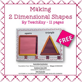 Making 2 Dimensional Shapes Hands On Activity FREE