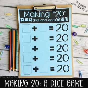 """Common Core - Making 20: A """"Roll & Add"""" Math Center Activity"""