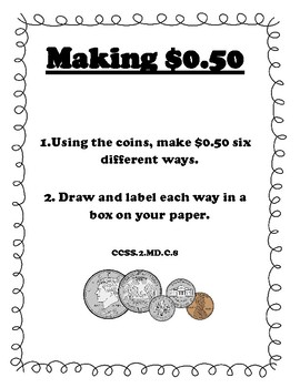 Making $.50 - Money Center Posters CCSS & MAFS