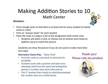 Making Addtion Stories to 10 (#number stories #word problems)