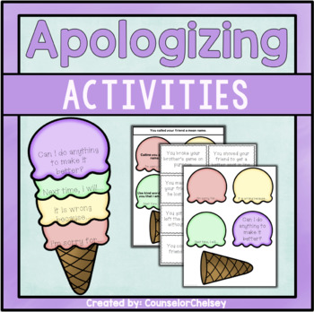 Making An Apology Ice Cream Cones by CounselorChelsey | TpT