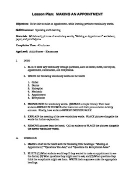 making an appointment lesson plan worksheets by ron o tpt