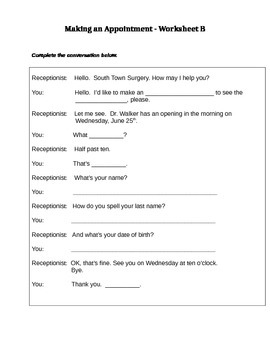Making An Appointment Lesson Plan + Worksheets
