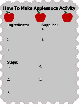 Making Applesauce Differentiated Task