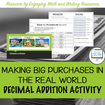 Making Big Purchases in the Real World Adding Decimals Activity