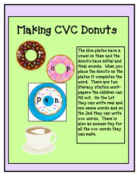 kindergarten & 1st CVC Donuts Literacy Station (bonus real