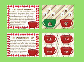 Making CVC Words Hot Chocolate Literacy Activities