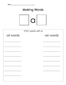 Making CVC Words with -at and -an