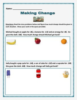 Math: Money - Making Change - 10 story problems. Common Core