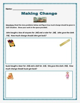 Math: Money - Making Change - 10 story problems. Common Core