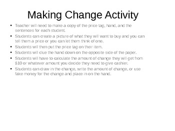 Making Change Activity