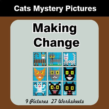 Making Change - Cats Math Mystery Pictures