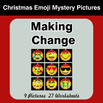 Making Change - Christmas Emoji Math Mystery Pictures