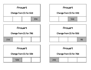 Making Change Clip Cards (self-checking)