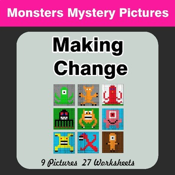 Making Change - Color By Number - Monsters