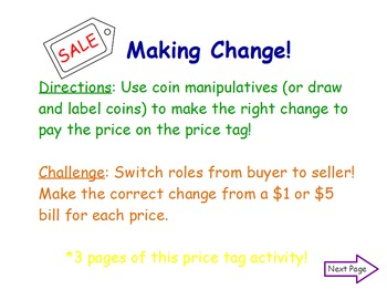 Making Change: Counting Coins Flipchart