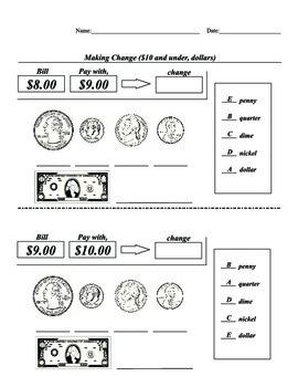 SPED, Elementary, Math, Coin, Dollar, Matching, Identification, Change Dollar