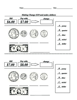 SPED, Elementary, Math, Coin, Dollar, Matching, Identification, Change Dollar