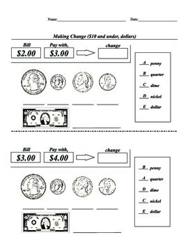 SPED, Elementary, Math, Coin, Dollar, Matching, Identifica