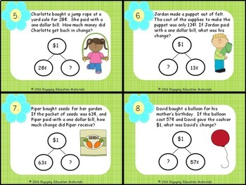 Making Change From $1 Money Word Problems Using Number Bonds