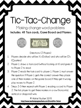 Making Change Game: Tic-Tac-Change