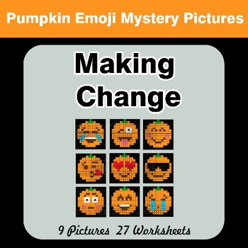 Making Change - Halloween Pumpkin Emoji Math Mystery Pictures