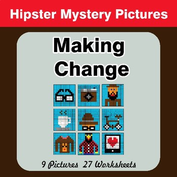 Making Change - Hipsters Math Mystery Pictures