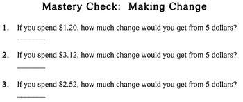 Making Change, 3rd grade - worksheets - Individualized Math