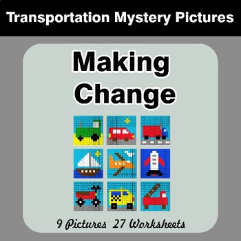 Making Change - Math Mystery Pictures - Transportation