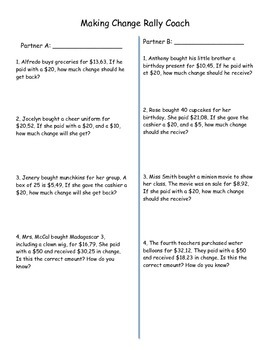 Making Change / Money Word Problems Rally Coach