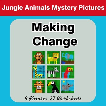 Making Change - Mystery Pictures - Jungle Animals