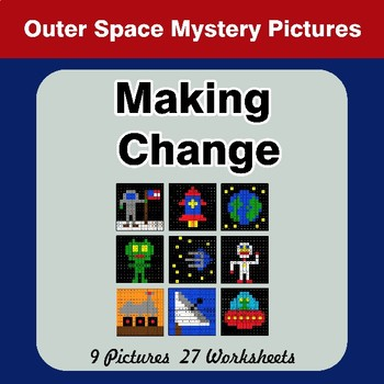Making Change - Outer Space Math Mystery Pictures