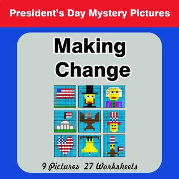 Making Change - President's Day Math Mystery Pictures