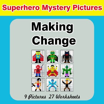 Making Change - Superhero Math Mystery Pictures