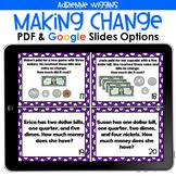 Making Change Task Cards (PDF & Google Classroom) Distance
