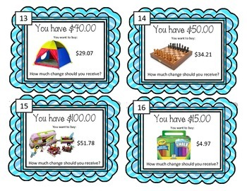 Making Change Task Cards! Let's Go Shopping! Finding Change Math Center