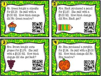 Making Change Task Cards- QR Codes