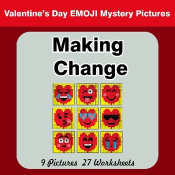 Making Change - Valentine's Day Emoji Math Mystery Pictures