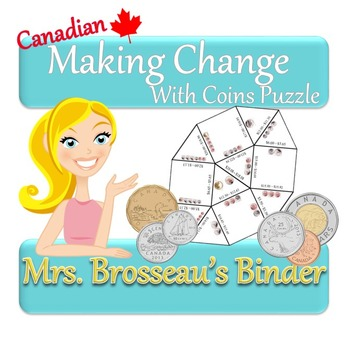 Money Math - Making Change With Coins Puzzle Pack - Canadian Version