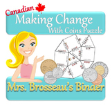 Money Math - Making Change With Coins Puzzle Pack - Canadi
