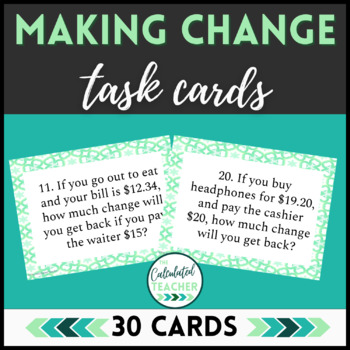 Money Math | Making Change | Real World Word Problem Task Cards