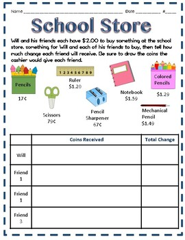 Making Change Word Problems and Activites