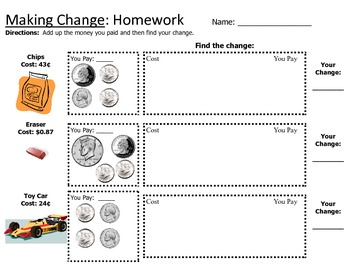 Counting Money / Making Change Worksheet