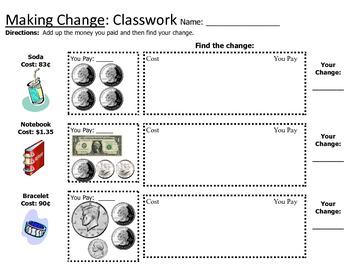 Counting Money / Making Change Worksheet