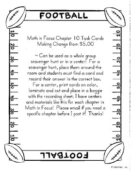 Making Change from $5.00 Task Cards-Math in Focus Chapter 10