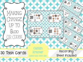 Making Change up to $1.00 QR Codes {2nd grade CC Aligned}