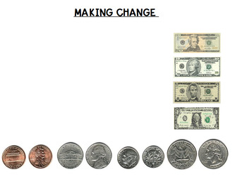 Making Change with Coins AND Bills Promethean Activity