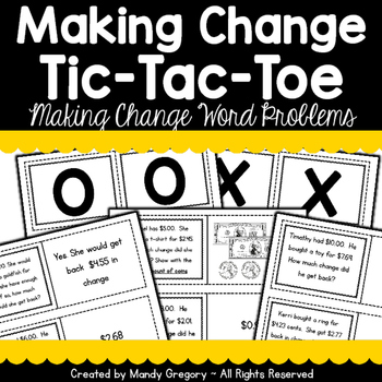 Making Change with Money Word Problems Tic-Tac-Toe Game
